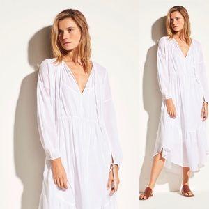 Vince Shirred Seamed Dress White Sz S Cotton